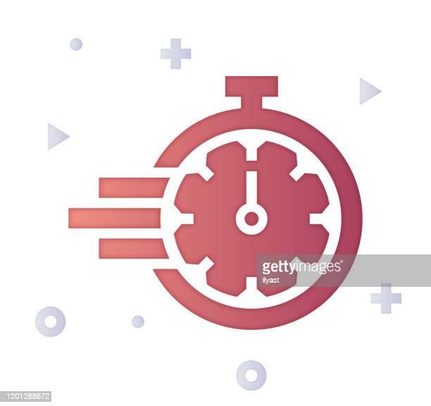 ilustraciones, imágenes clip art, dibujos animados e iconos de stock de agile organizations gradient fill color & paper-cut style icon design - agilidad