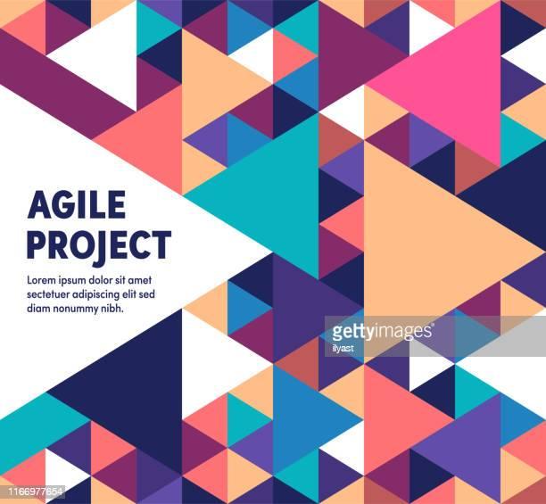 ilustraciones, imágenes clip art, dibujos animados e iconos de stock de agile project ilustración vectorial moderna y geométrica - agilidad