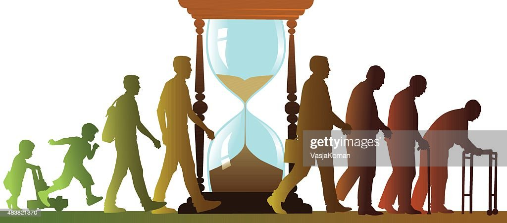 Aging Cycle with Sand Clock - Walking People Silhouettes : stock illustration