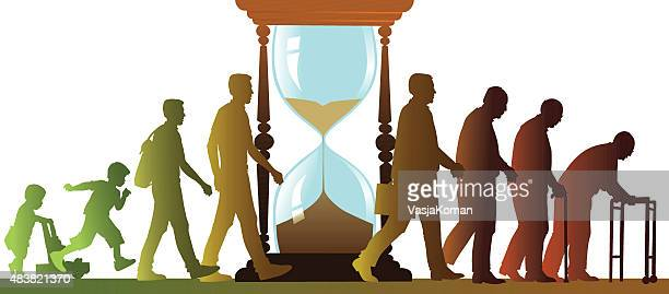 aging cycle with sand clock - walking people silhouettes - life cycle stock illustrations