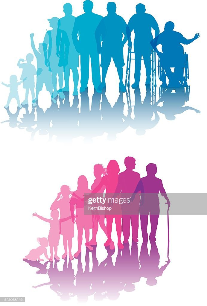 Aging Process - Men and Women : stock illustration