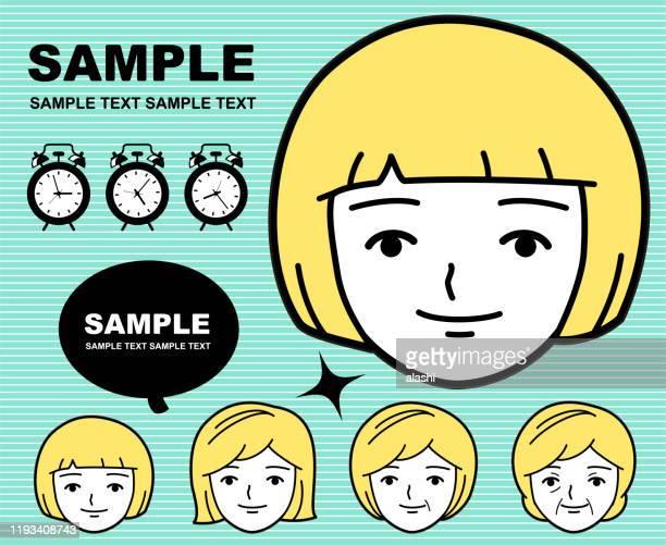 illustrazioni stock, clip art, cartoni animati e icone di tendenza di processo di invecchiamento di una ragazza carina (emoticon, viso) - capelli a caschetto