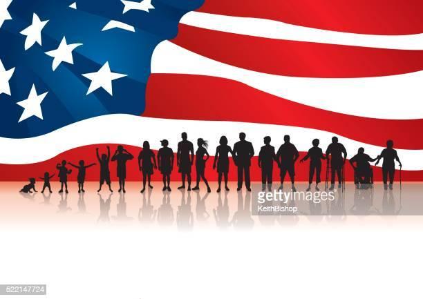 加齢に、アメリカの旗の背景