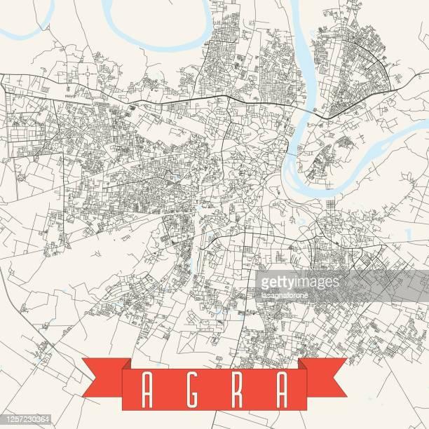 agra, india vector map - royal palace amsterdam stock illustrations