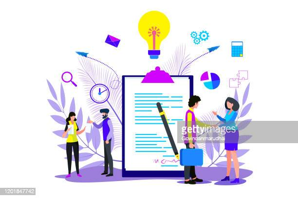 agreement. business people standing on a signed contract. concept business - contract stock illustrations