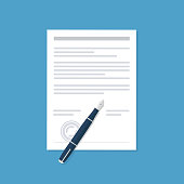 Agreement icon in flat style - contract and pen vector