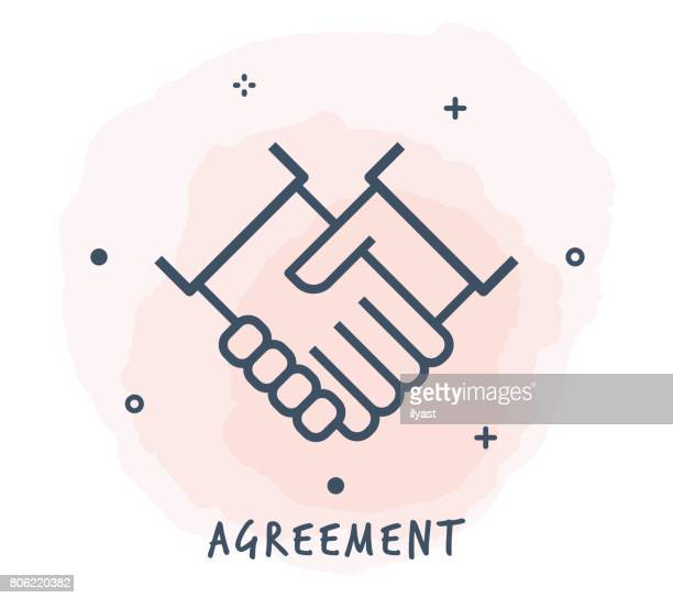 agreement line icon - shaking stock illustrations