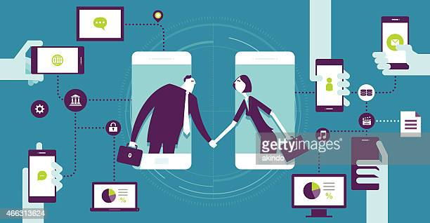 agreement - video conference stock illustrations
