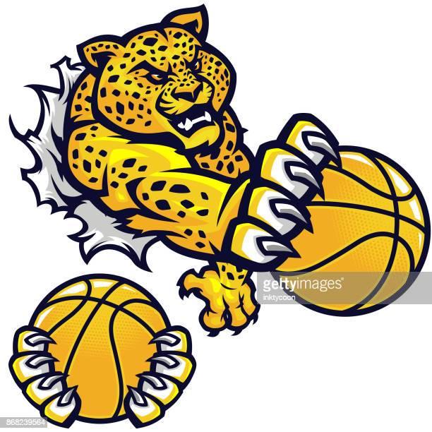 agressive basketball jaguar kit - claw stock illustrations, clip art, cartoons, & icons