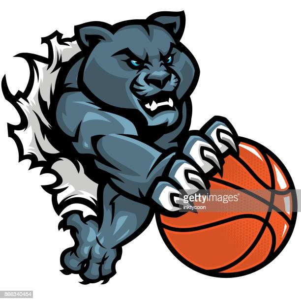 agressive basketball panther kit - claw stock illustrations, clip art, cartoons, & icons