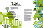 Agricultural brochure layout design. An example of a backdrop for farm. Geometrical composition. Background for covers, flyers, banners