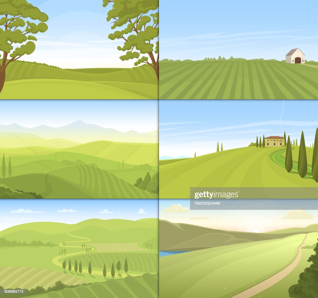 Agricultural farm field set vector.