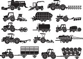 agricultural machine silhouettes