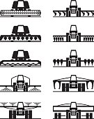 Agricultural machinery icon set