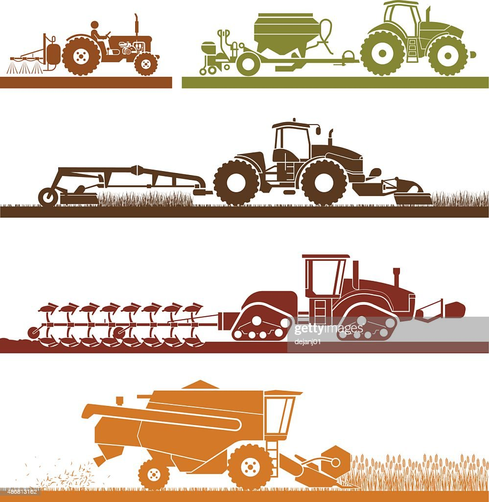 Agricultural mechanization icons.