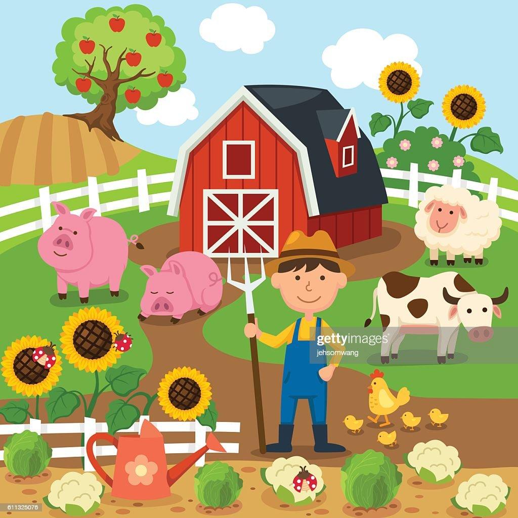 Agricultural production,rural landscape.illustration.