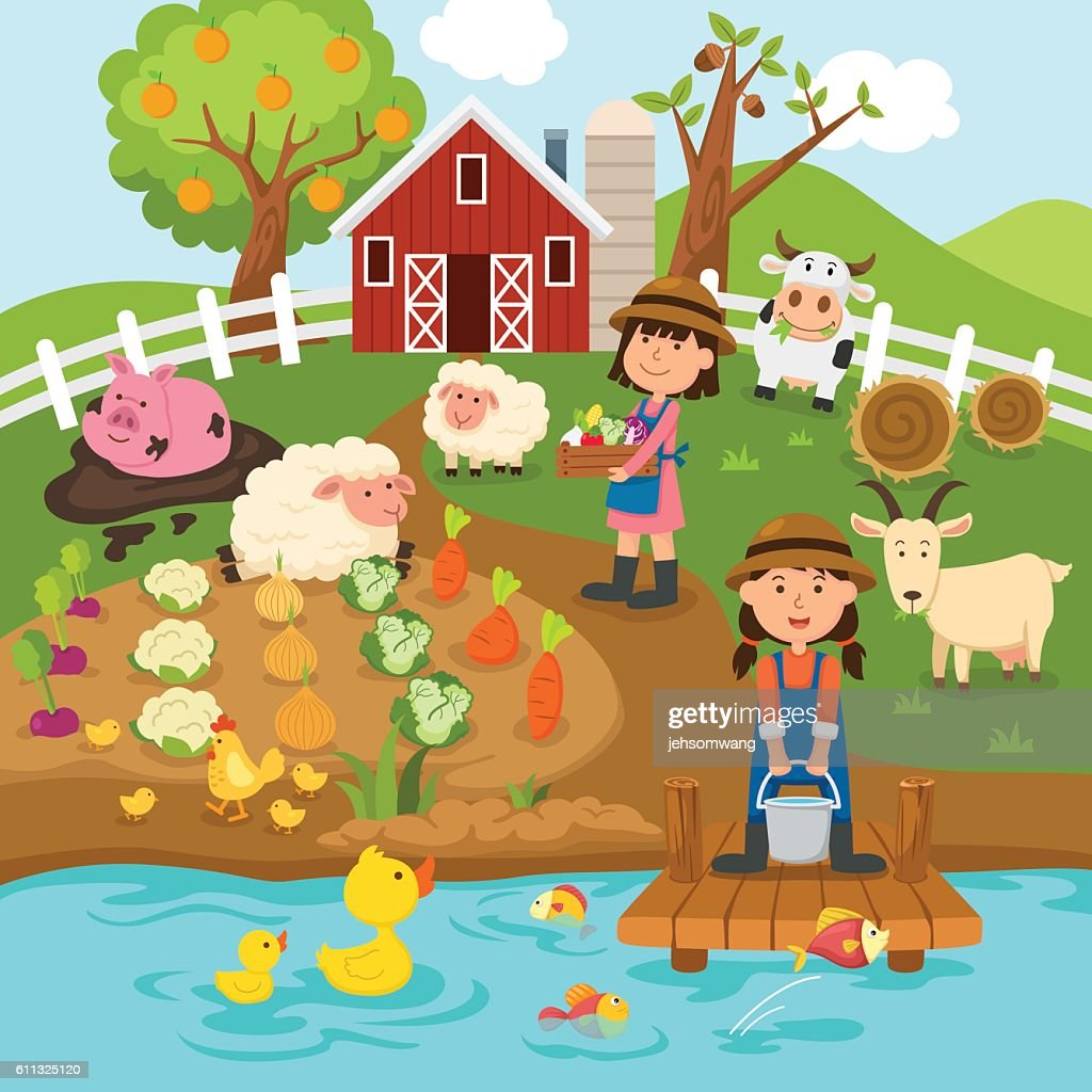 Agricultural production,rural landscape.illustration.