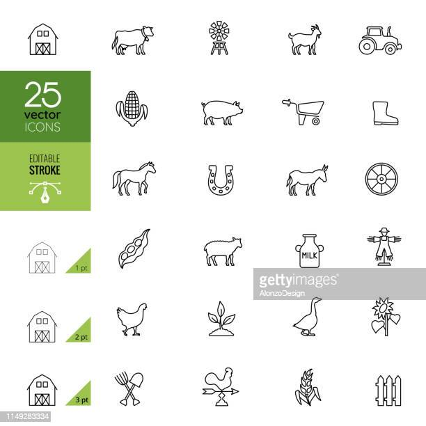 agriculture and farm icon set. editable stroke. - ranch stock illustrations