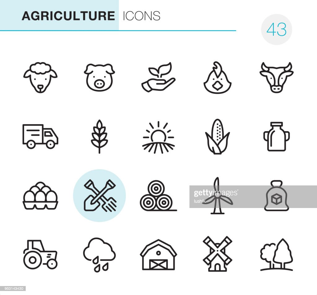 Agriculture and Farm - Pixel Perfect icons : stock illustration