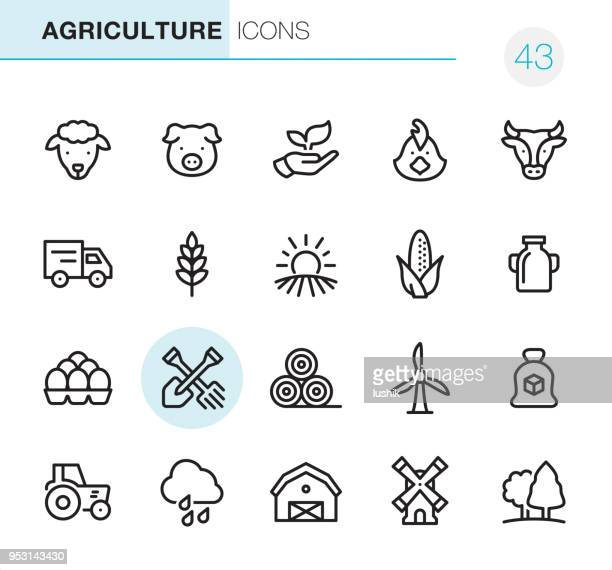 agriculture and farm - pixel perfect icons - crop plant stock illustrations