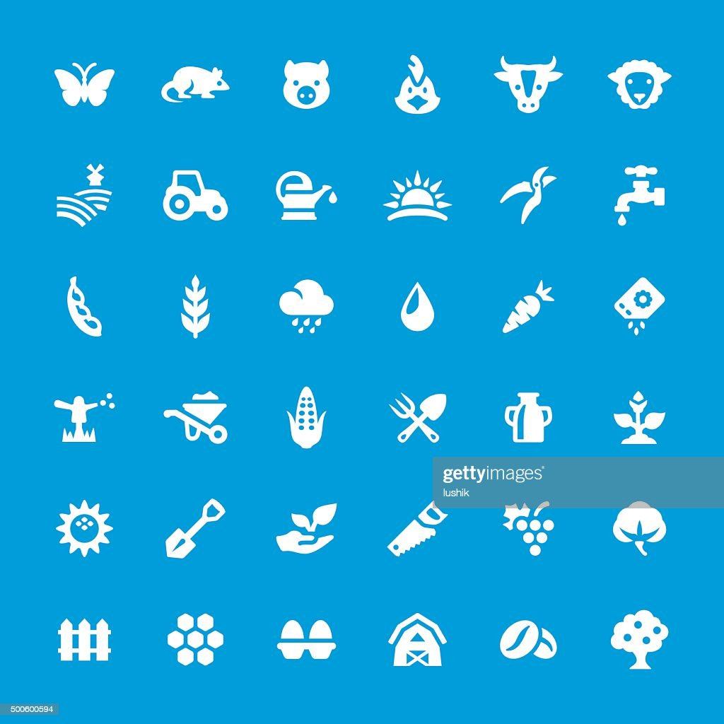 Agriculture and Farm vector icons set : stock illustration