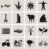 Agriculture and Farming black icons set1. Vector Illustration ep