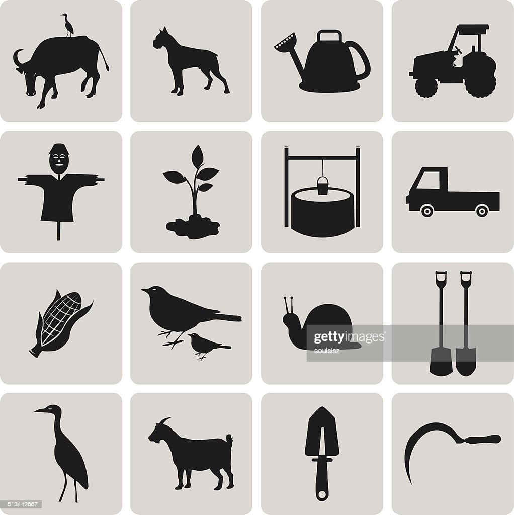 Agriculture and Farming black icons set2. Vector Illustration ep