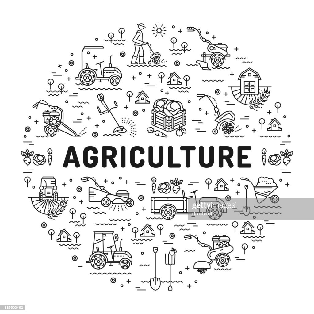 Agriculture and farming line art icons, farm infographics design template. Garden tiller and farm machines. Vector illustration agriculture and gardening mock-up flyers, banners, book covers