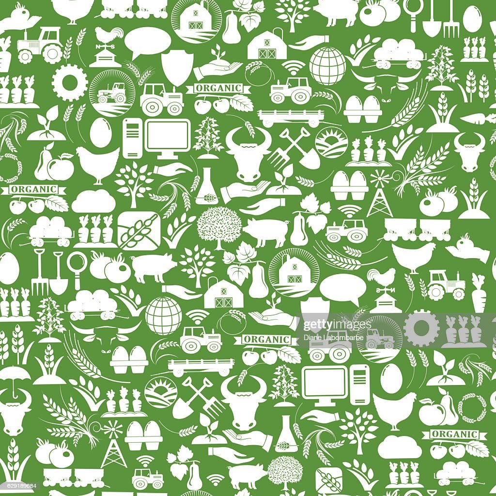Agriculture And Farming Seamless Repeating Pattern : stock illustration