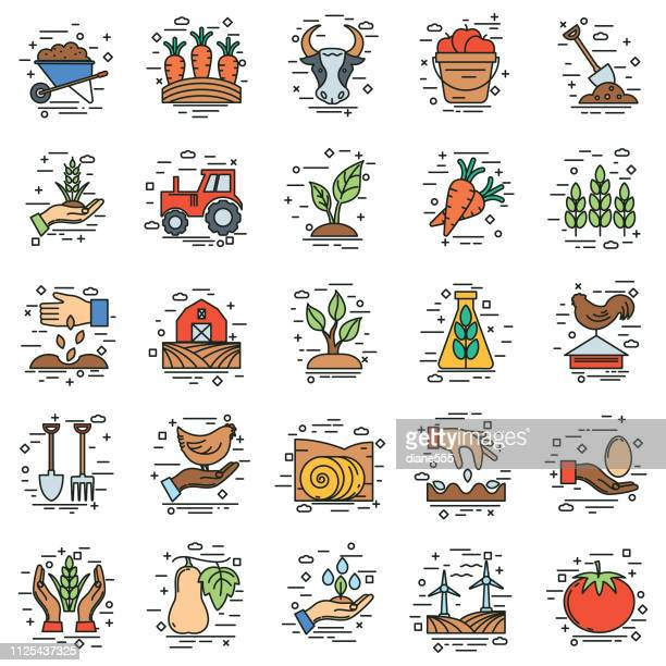 Agriculture And Farming Thin Line Icons