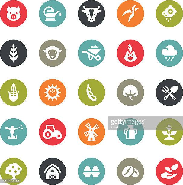 agriculture and harvesting icons / ringico series - organic stock illustrations, clip art, cartoons, & icons