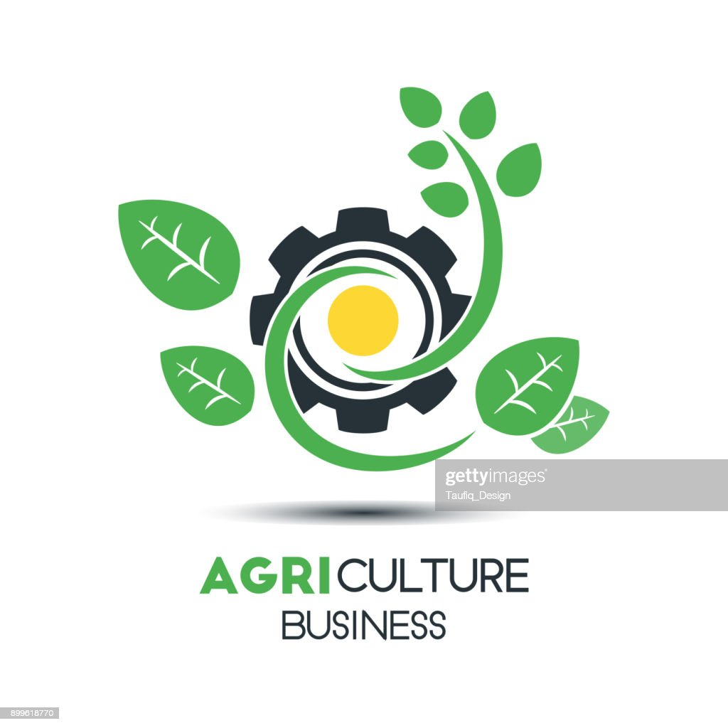Agriculture Business Vector   Template. Green Leaf With The Sun and The Gear Vector Illustration. Eco-Friendly Design, Editable Content.