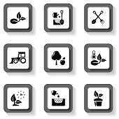 agriculture buttons set