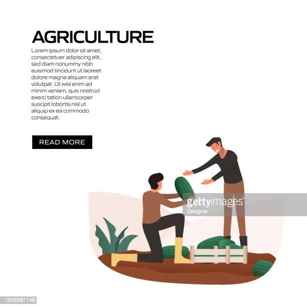 ウェブサイトバナー、広告・マーケティング資料、オンライン広告、ソーシャルメディアマーケティング等のための農業コンセプトベクトルイラスト - スマート農業点のイラスト素材/クリップアート素材/マンガ素材/アイコン素材