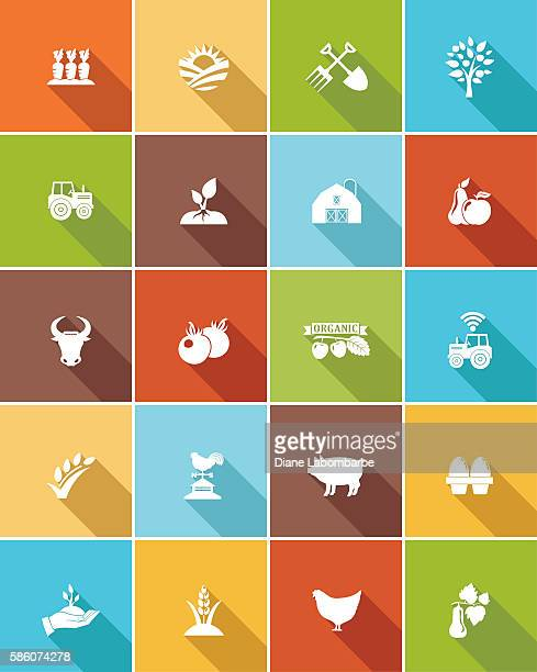 Agriculture Farming Flat Color Long Shadow Icons