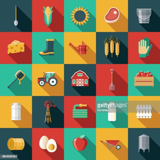 agriculture flat design icon set - watering can stock illustrations