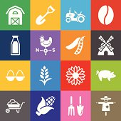 Agriculture Icons and Color Background
