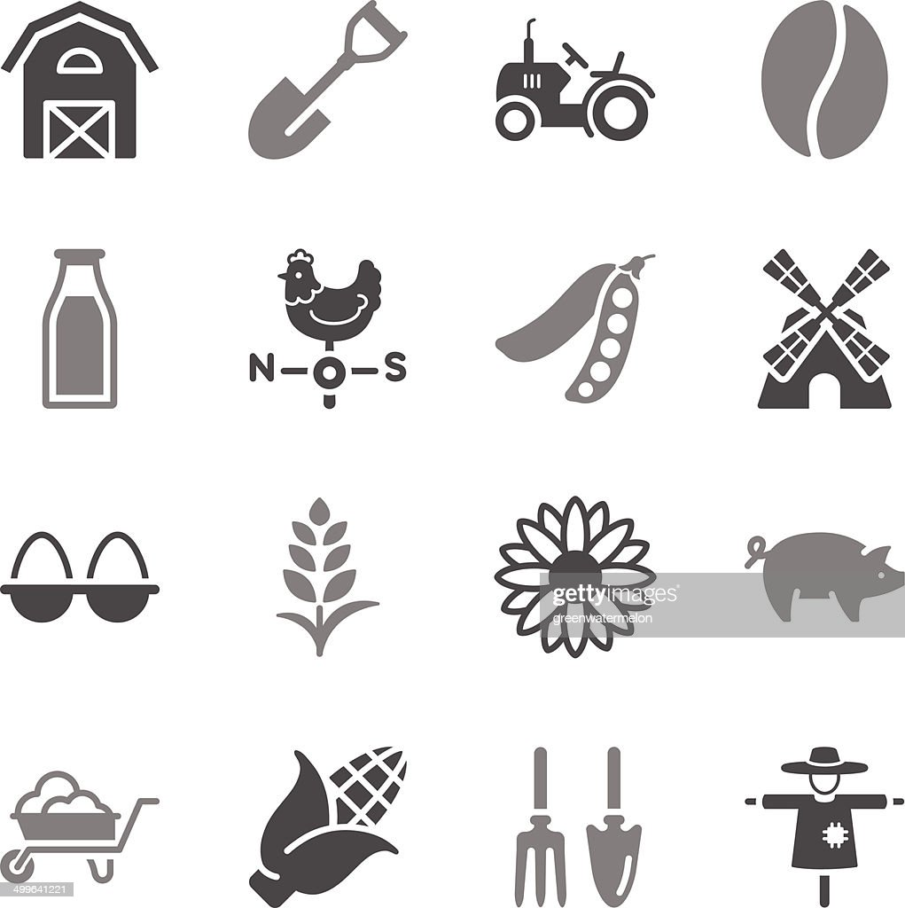 Agriculture Icons Gray Color
