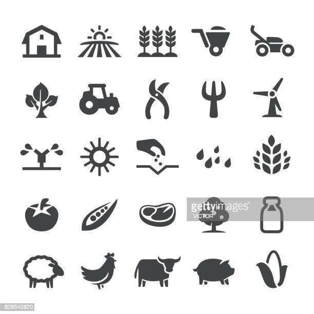 agriculture icons - smart series - tractor stock illustrations
