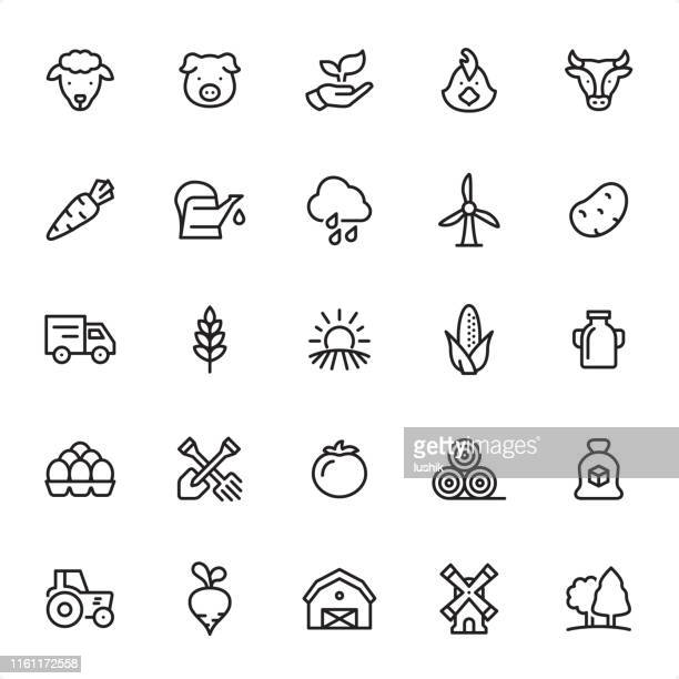 agriculture - outline icon set - watering can stock illustrations
