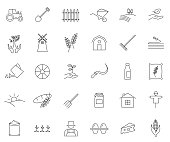 Agriculture outline icon set