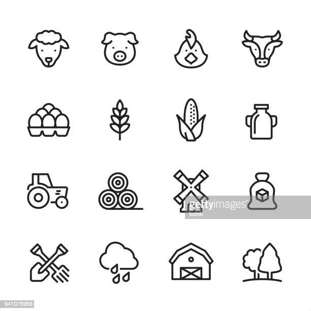 agriculture - outline icon set - cow stock illustrations