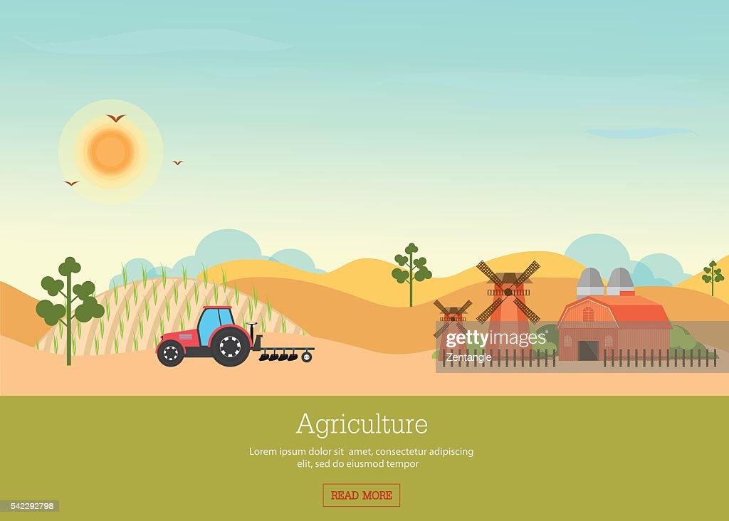 Agriculture with Organic products and farmhouse.