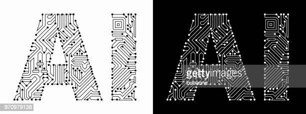 ai in black and white circuit board font - artificial intelligence stock illustrations