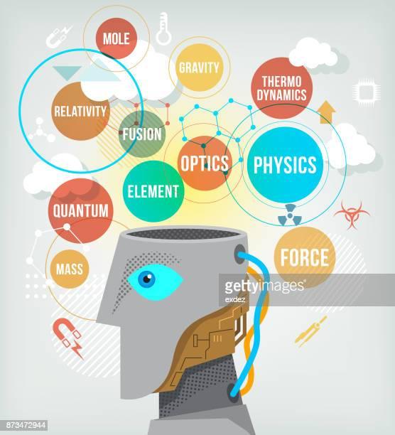 ai powered humanoid robot - quantum physics stock illustrations