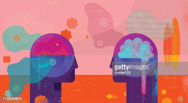 ai vs natural intelligence confrontation - fake stock illustrations