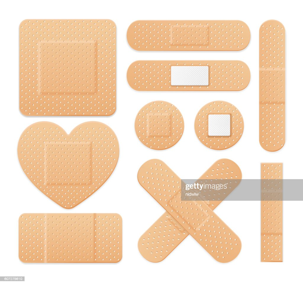Aid Band Plaster Strip Medical Patch Set. Vector