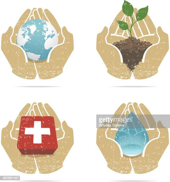 aid in hand - fragile sign stock illustrations
