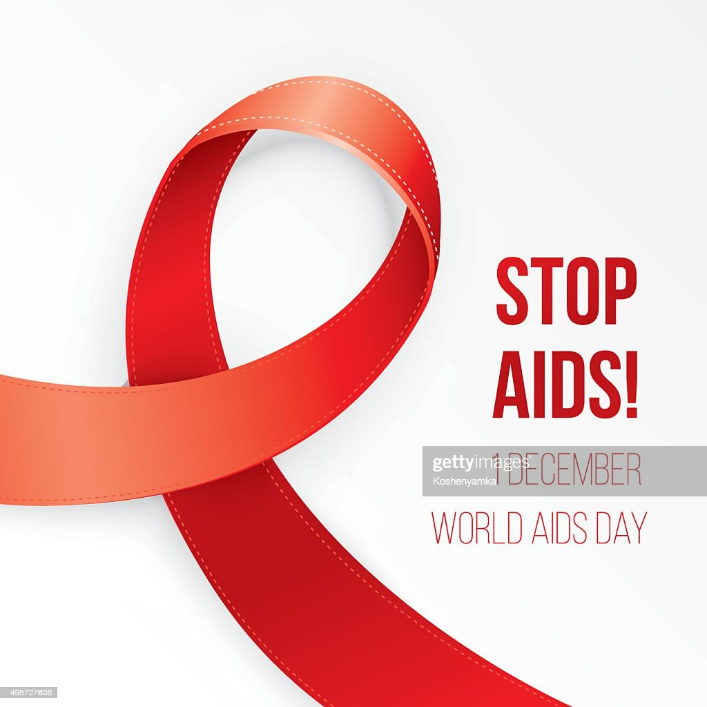 Aids Awareness Red heart Ribbon on white background.
