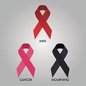 Aids, Cancer and Mourning Ribbon Vector Design Illustration